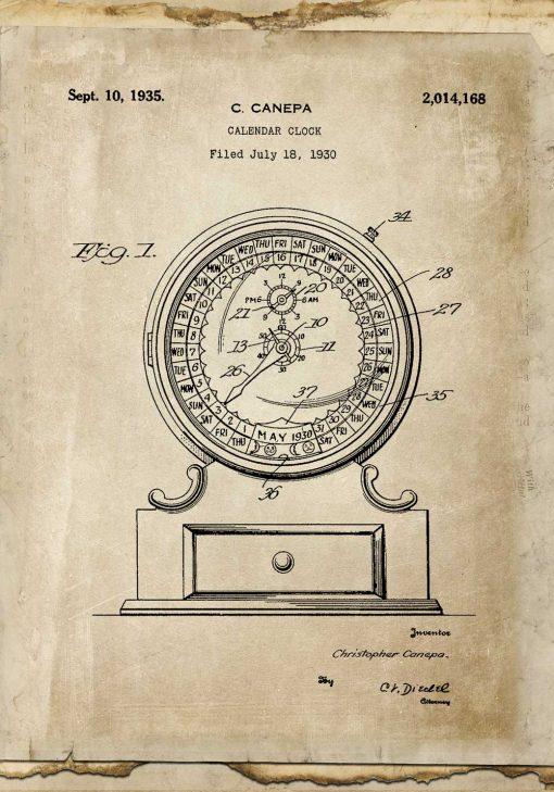 Plakat patent na kalendarz - schemat budowy