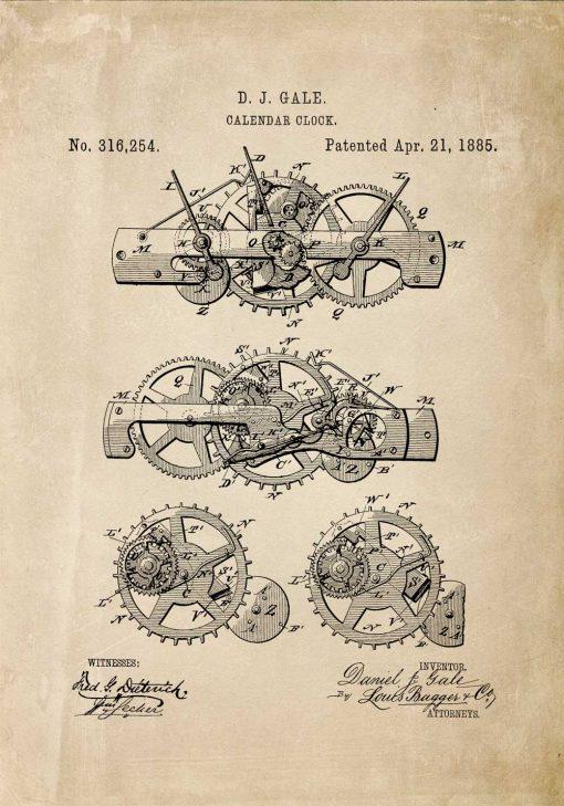Plakat retro model kalendarza mechanicznego