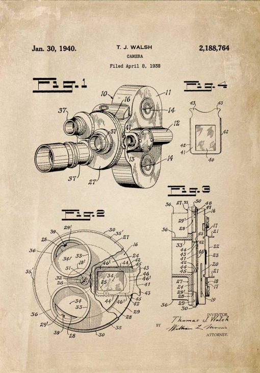 Poster vintage - patent kamery filmowej