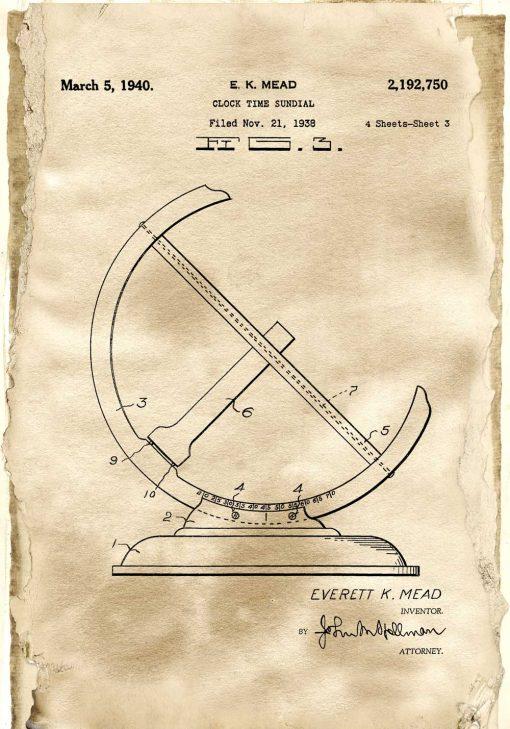 Poster - Patent na zegar słoneczny dla zegarmistrza