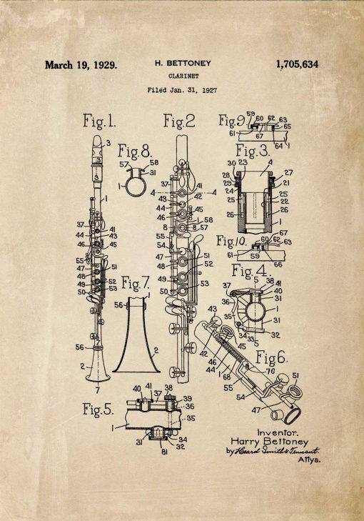 Plakat rycina koncepcji budowy klarnetu