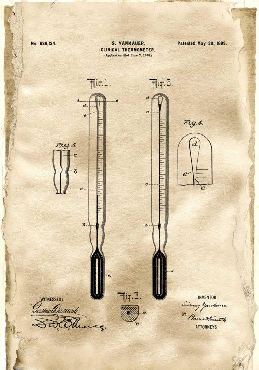 Plakat termometr kliniczny - patent z roku 18899
