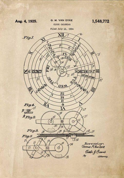 Plakat ze schematem budowy kalendarza zegarowego - 1924r.