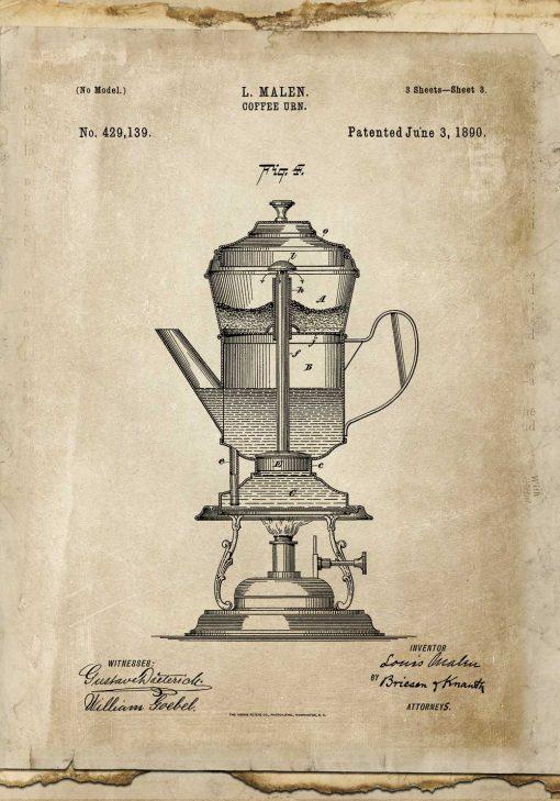 Plakat z projektem kawiarki 1890r.