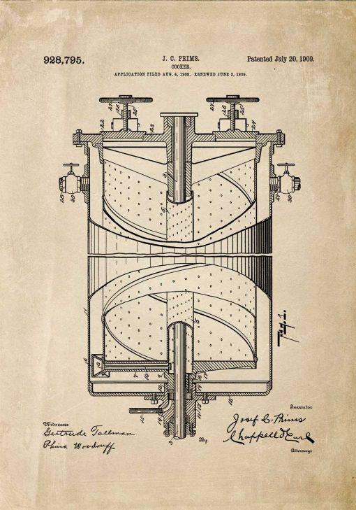 Plakat kuchenka gazowa - wynalazek z 1909r.