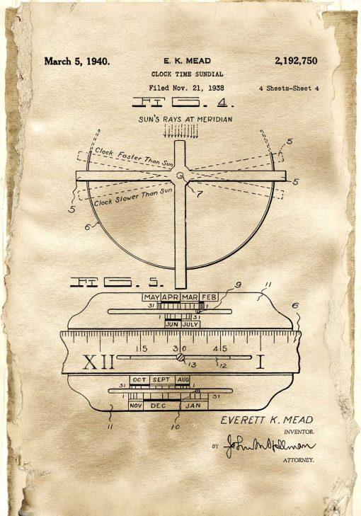 Poster z reprodukcją patentu na zegar słoneczny do pokoju młodzieżowego