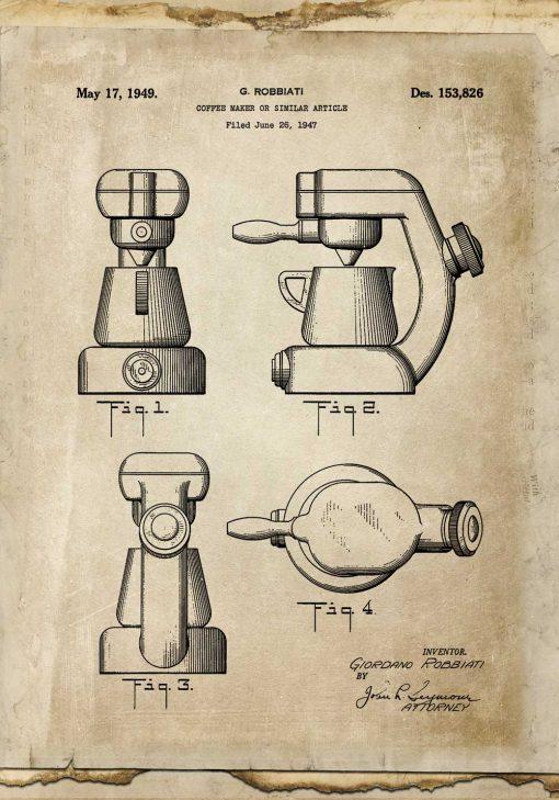 Plakat z patentem na ekspres do kawy z 1947 roku do restauracji