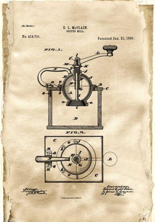 Plakat z reprodukcją rysunku patentowego młynka do kawy do kuchni