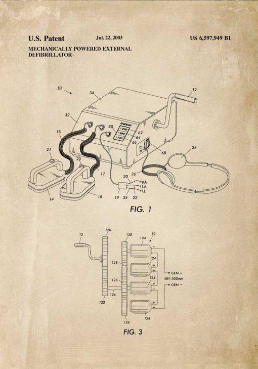 Plakat z rysunkiem patentowym na defibrylator mechaniczny - 2003r.