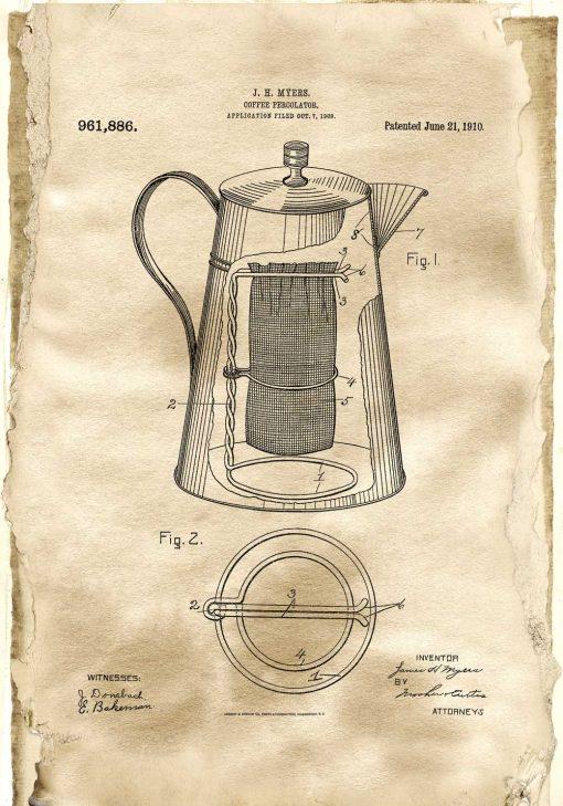 Plakat z patentem na kawiarkę dla baristy