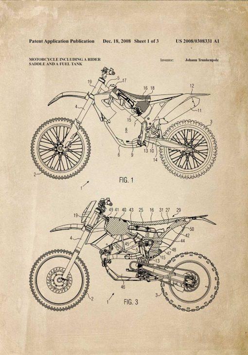 Plakat w sepii z planem technicznym na budowę motocykla