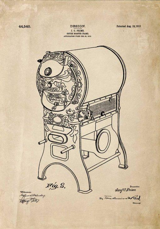 Urządzenie do palenia kawy - Plakat retro