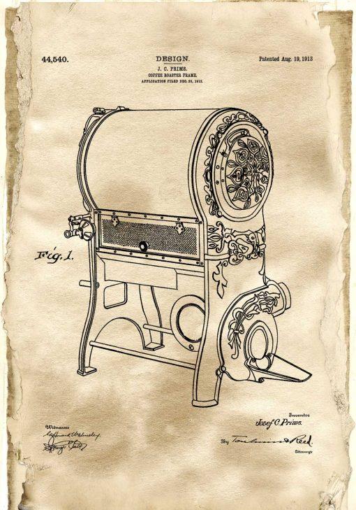 Poster z rysunkiem opisowym pieca do kawy