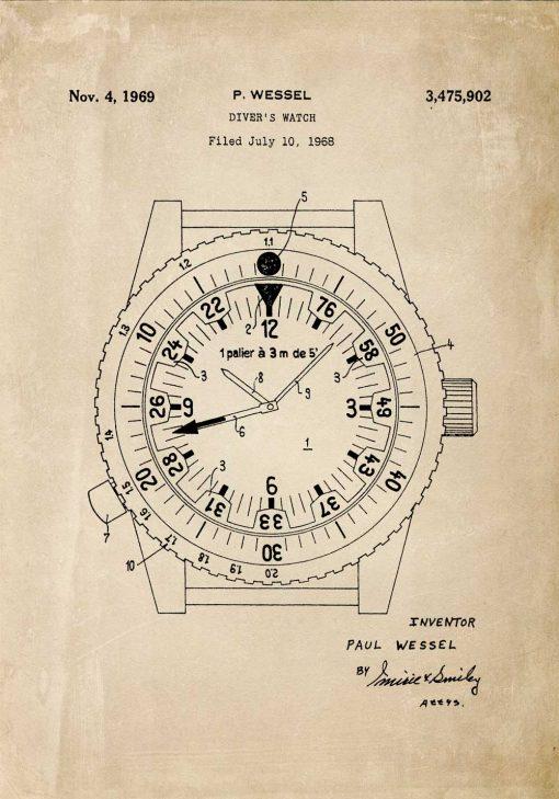 Plakat patent na zegarek wodoszczelny - 1969r.