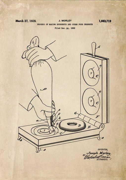 Plakat z prototypem urządzenia do robienia pączków