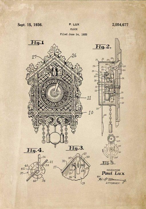 Plakat z reprodukcją rysunku opisowego zegara z kukułką