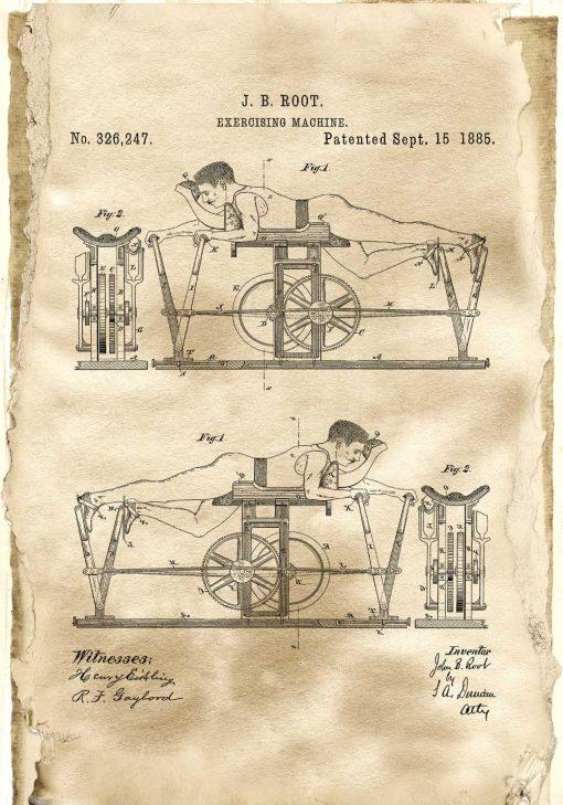 Plakat z rysunkiem patentowym maszyny do ćwiczeń dla trenera