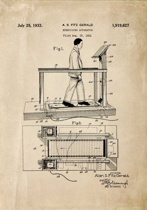Poster z rysunkiem patentowym bieżni do pokoju