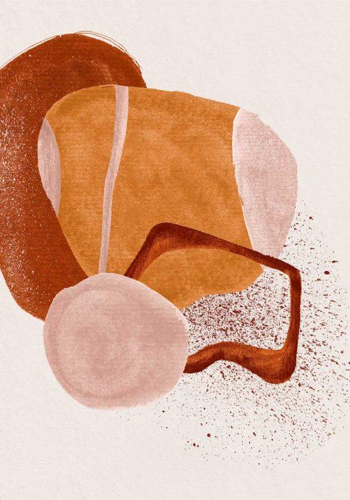Plakat z beżową abstrakcją do pokoju