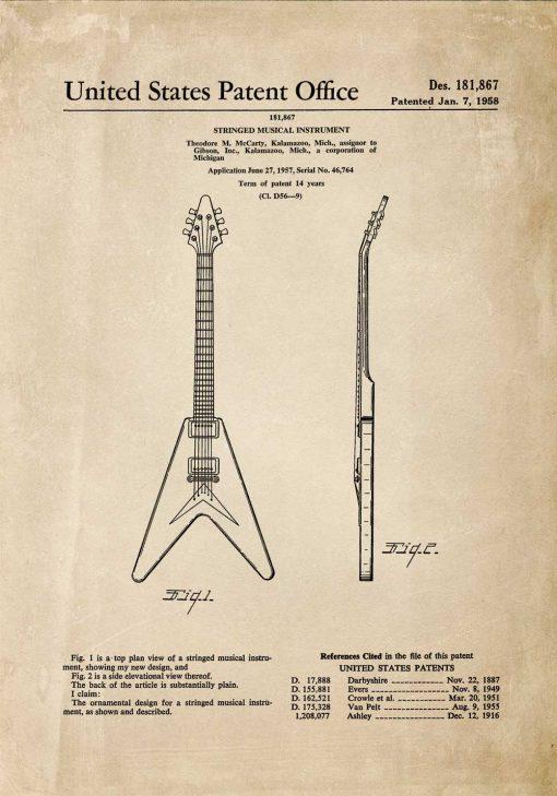 Plakat z patentem na gitarę w kolorze sepii