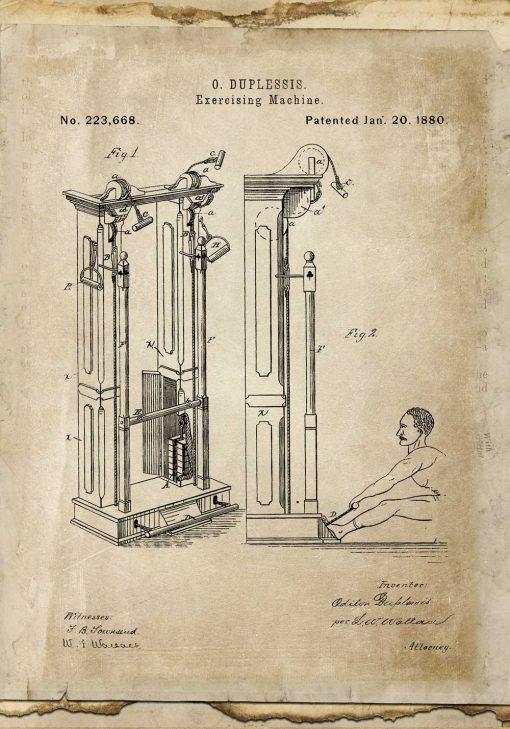 Plakat do siłowni z maszyną do ćwiczeń - patent z roku 1880