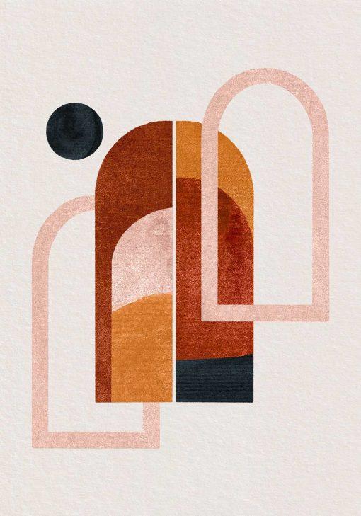 Plakat z abstrakcyjnymi oknami do ozdoby poczekalni
