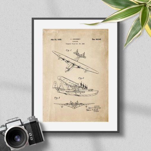 Plakat z górnopłatowym samolotem