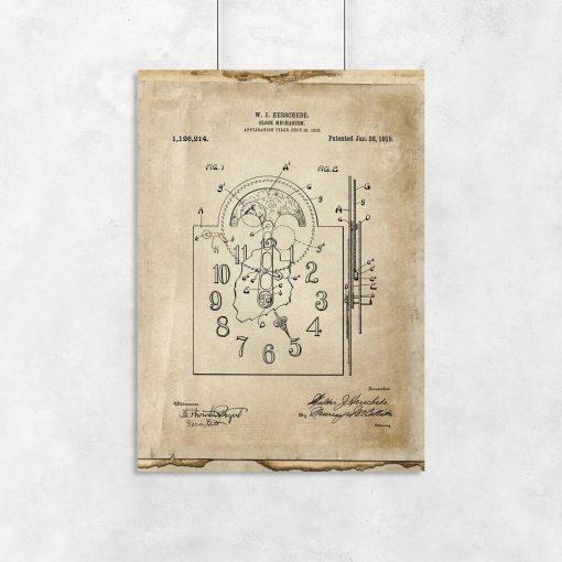 Poster z reprodukcją rysunku opisowego zegara do salonu