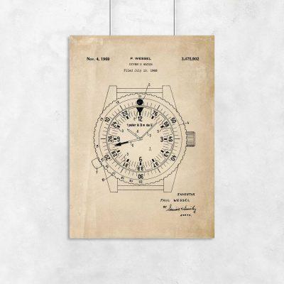 Plakat z zegarkiem dla nurka z roku 1969