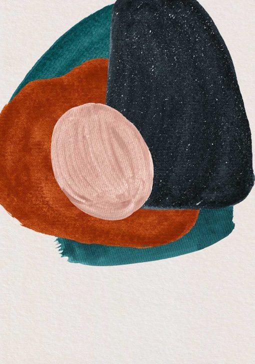 Plakat z abstrakcją na beżowym tle do ozdoby biura