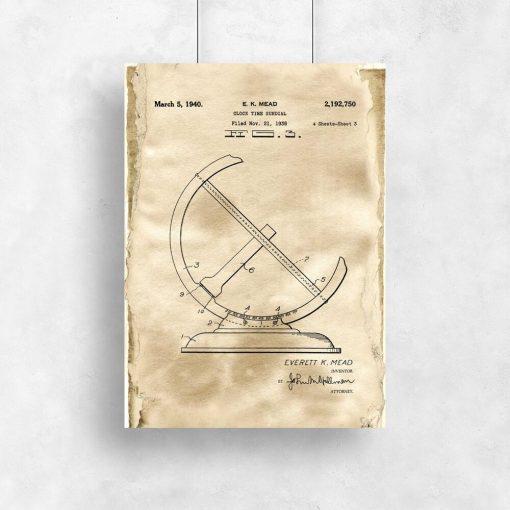Poster - Patent na zegar słoneczny do salonu