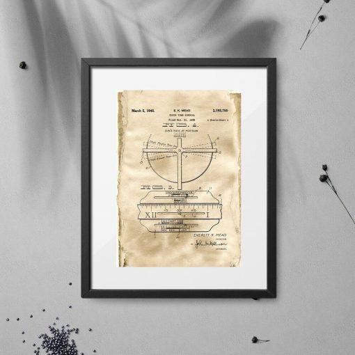 Poster z reprodukcją patentu na zegar słoneczny do sypialni