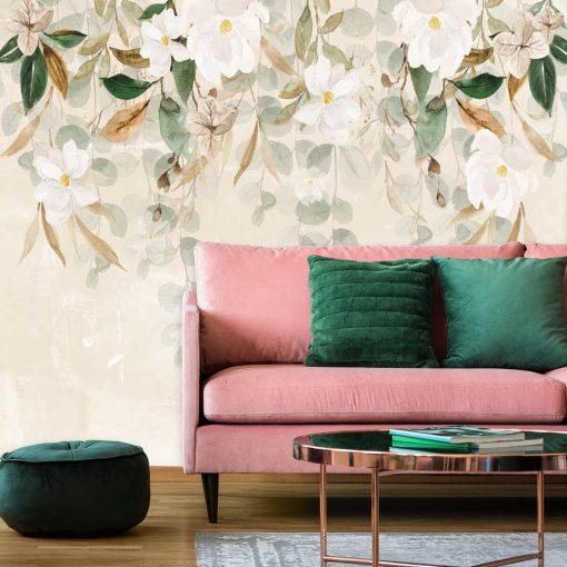 Fototapeta w białe kwiaty do salonu