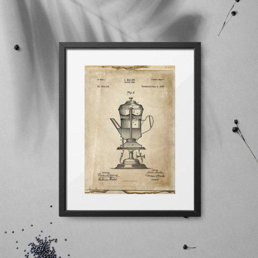 Plakat patent na ekspres do kawy - 1890r.
