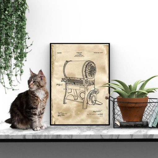 Poster z rysunkiem opisowym pieca do kawy do jadalni