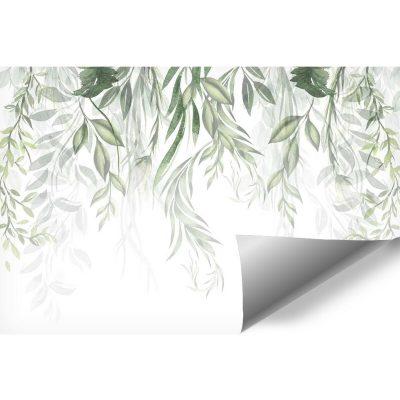 Zielonkawa tapeta z roślinami