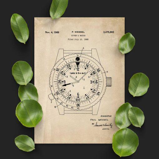 Plakat z zegarkiem do pływania - patent z 1969r.