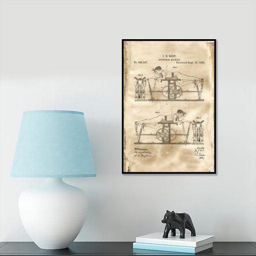 Plakat z rysunkiem patentowym maszyny do ćwiczeń na salkę fitness