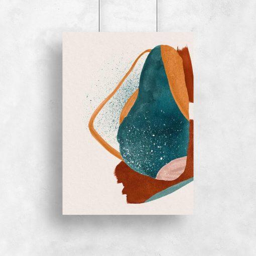 Abstrakcyjny plakat w kolorze turkusowym do salonu