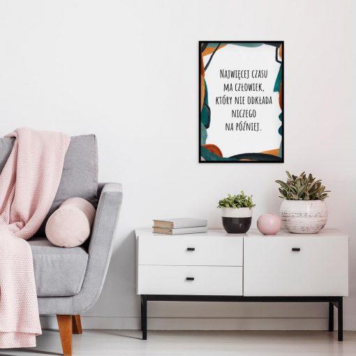 Plakat abstrakcyjny z sentencją do sypialni