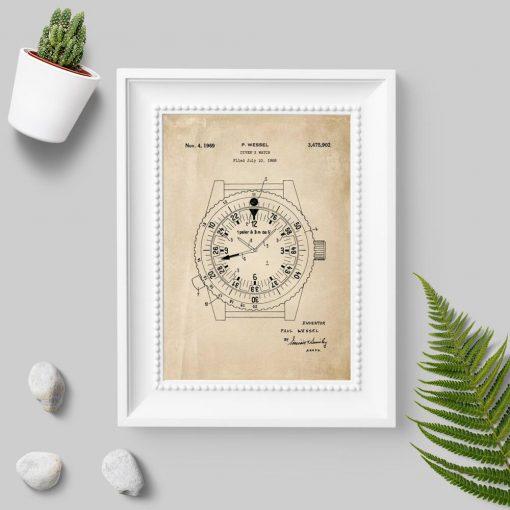 Plakat z patentem na zegarek dla nurka - 1969r.