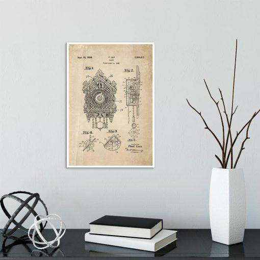 Plakat z reprodukcją rysunku opisowego zegara z kukułką na przedpokój