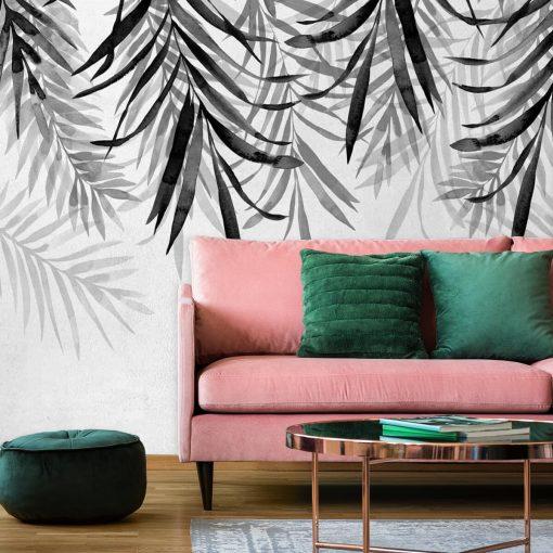 Tapeta z motywem botanicznym do dekoracji salonu