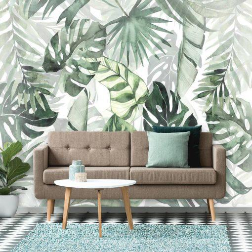 Tapeta z zielonymi tropikalnymi roślinami