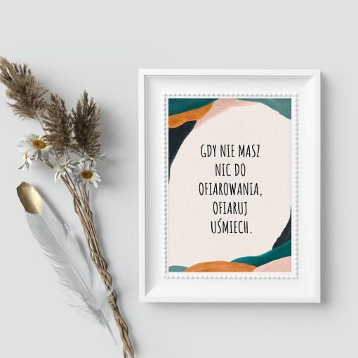 Plakat z dewizą życiową o dawaniu na tle abstrakcji