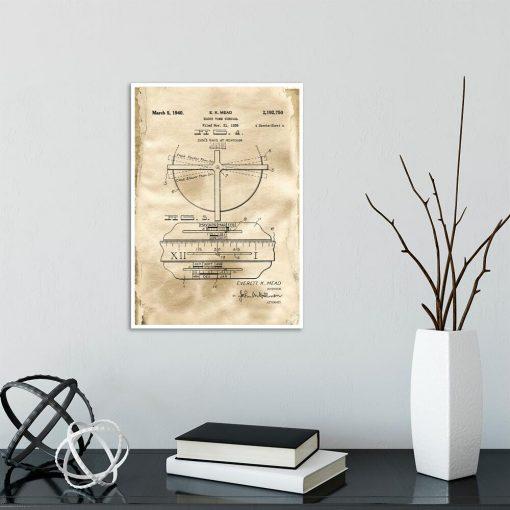 Poster z reprodukcją patentu na zegar słoneczny do gabinetu