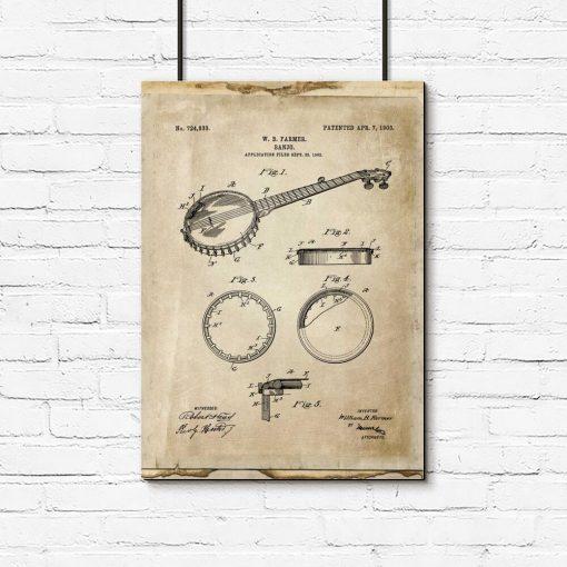Plakat z rysunkiem obrazowym gitary do salonu