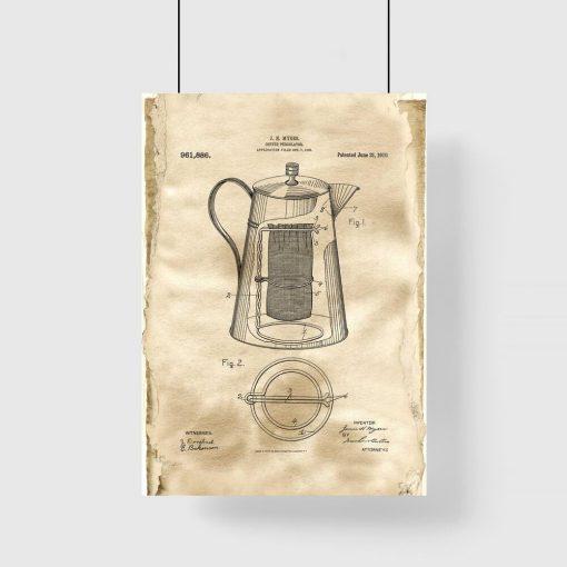 Plakat retro - Rysunek patentowy kawiarki do jadalni