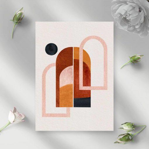 Plakat z abstrakcyjnymi oknami i kropką do dekoracji biura