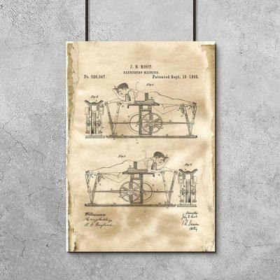 Plakat z rysunkiem patentowym maszyny do ćwiczeń dla mężczyzn